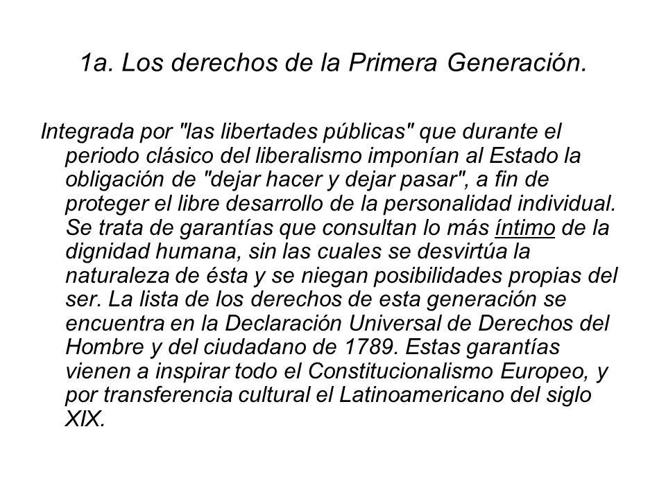 1a. Los derechos de la Primera Generación.