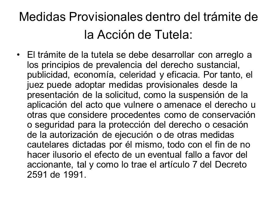 Medidas Provisionales dentro del trámite de la Acción de Tutela: