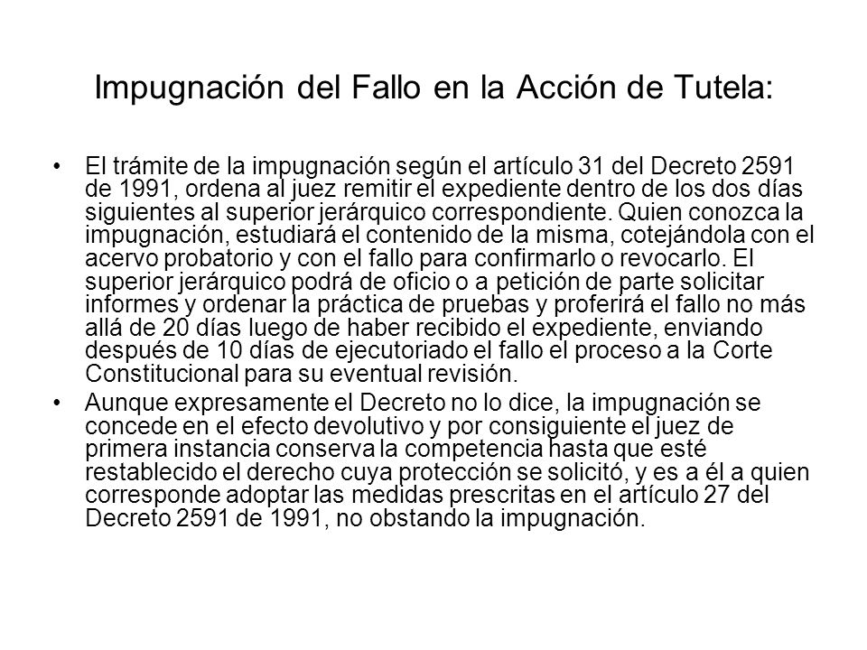 Impugnación del Fallo en la Acción de Tutela: