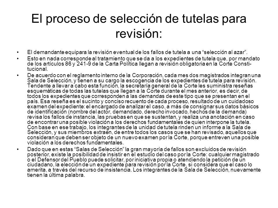 El proceso de selección de tutelas para revisión: