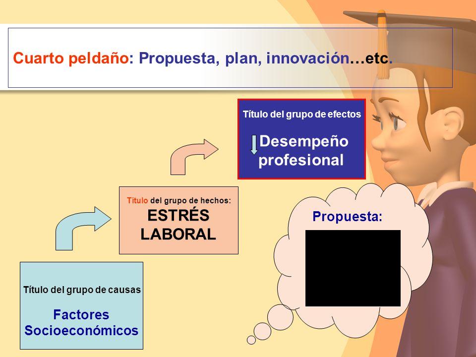 Cuarto peldaño: Propuesta, plan, innovación…etc.