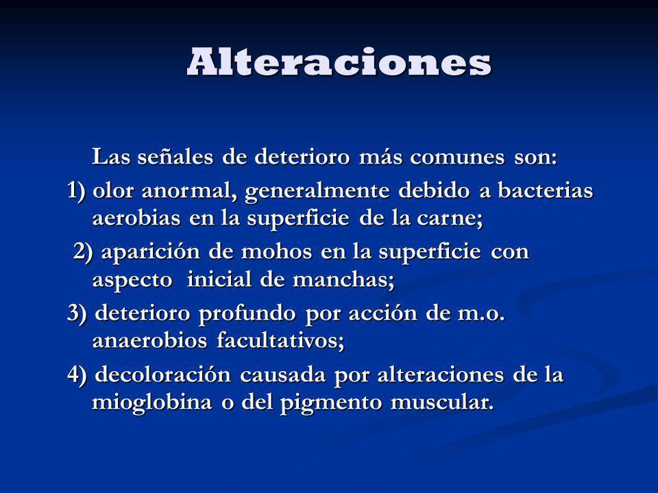 Alteraciones Las señales de deterioro más comunes son: