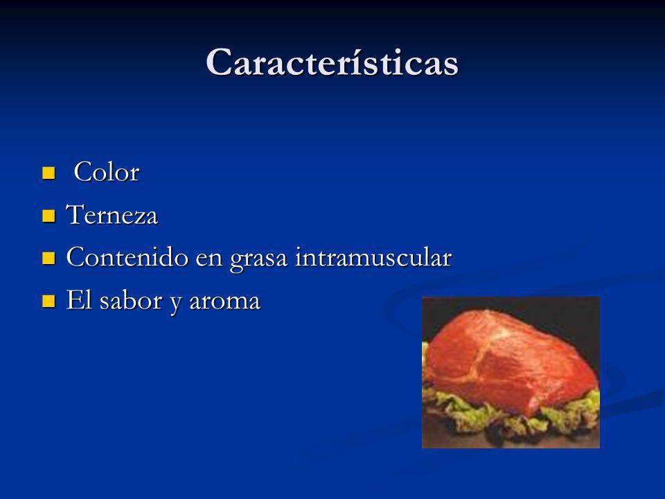 Características Color Terneza Contenido en grasa intramuscular