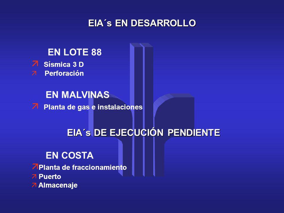 Planta de gas e instalaciones EIA´s DE EJECUCIÓN PENDIENTE EN COSTA