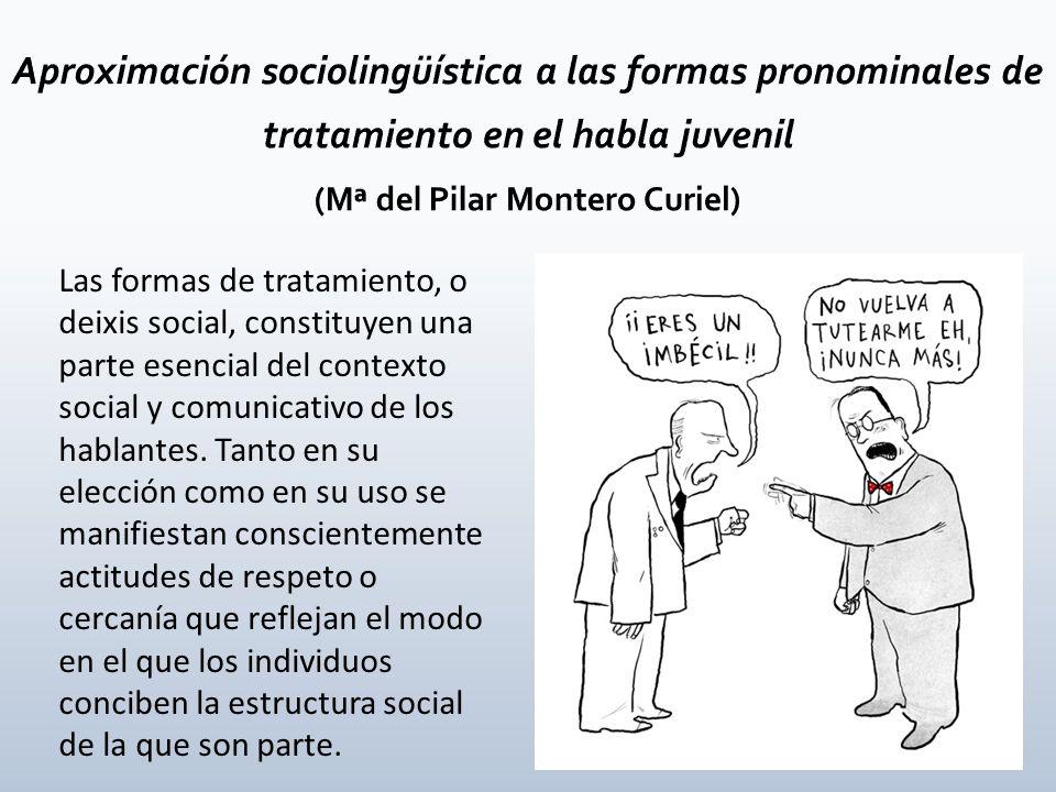 Aproximación sociolingüística a las formas pronominales de tratamiento en el habla juvenil (Mª del Pilar Montero Curiel)