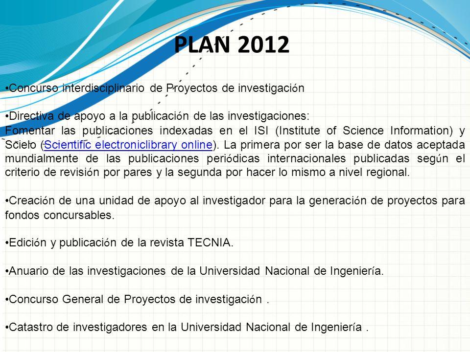 PLAN 2012 Concurso interdisciplinario de Proyectos de investigación
