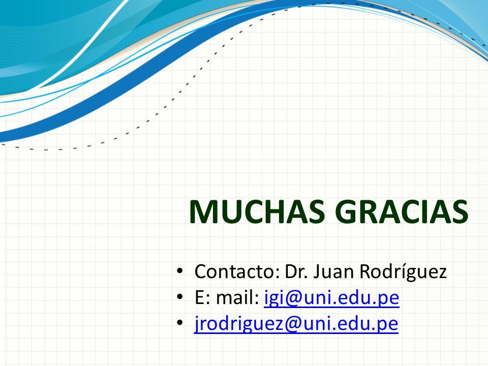 MUCHAS GRACIAS Contacto: Dr. Juan Rodríguez E: mail: igi@uni.edu.pe