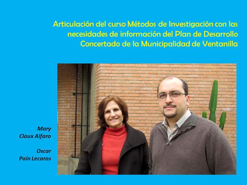 Articulación del curso Métodos de Investigación con las necesidades de información del Plan de Desarrollo Concertado de la Municipalidad de Ventanilla