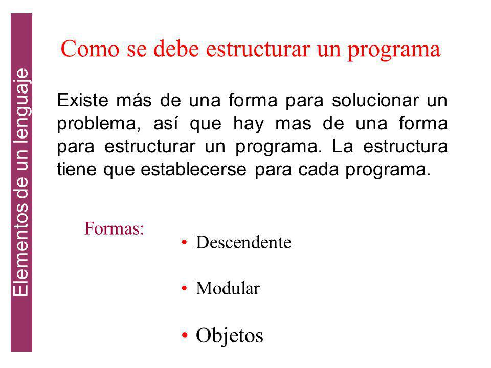 Como se debe estructurar un programa