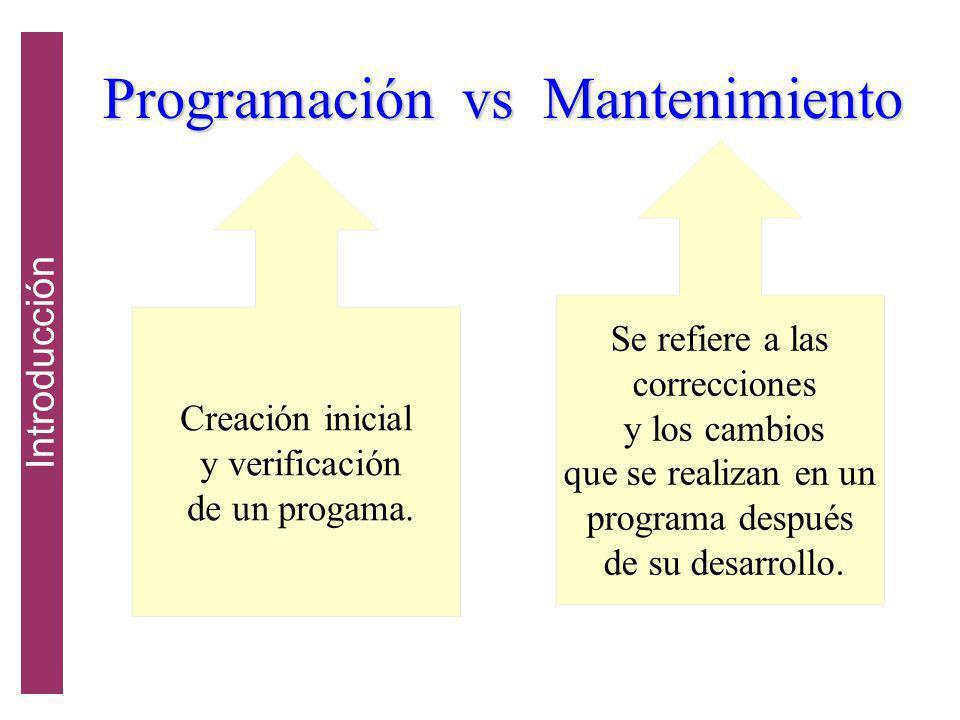 Programación vs Mantenimiento