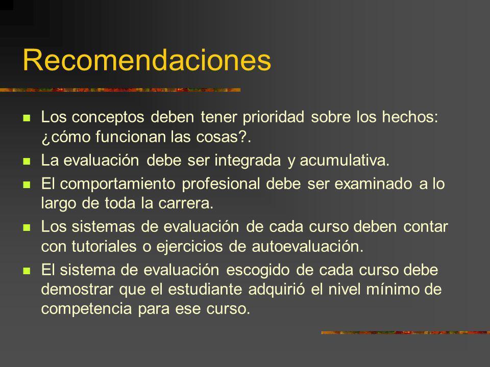 Recomendaciones Los conceptos deben tener prioridad sobre los hechos: ¿cómo funcionan las cosas . La evaluación debe ser integrada y acumulativa.
