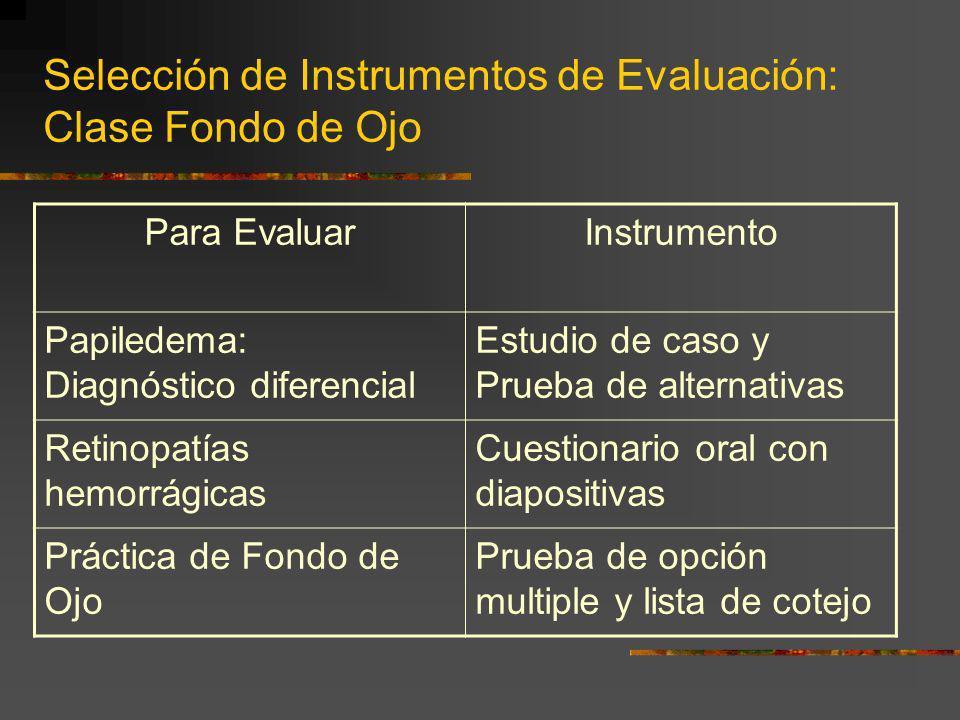 Selección de Instrumentos de Evaluación: Clase Fondo de Ojo