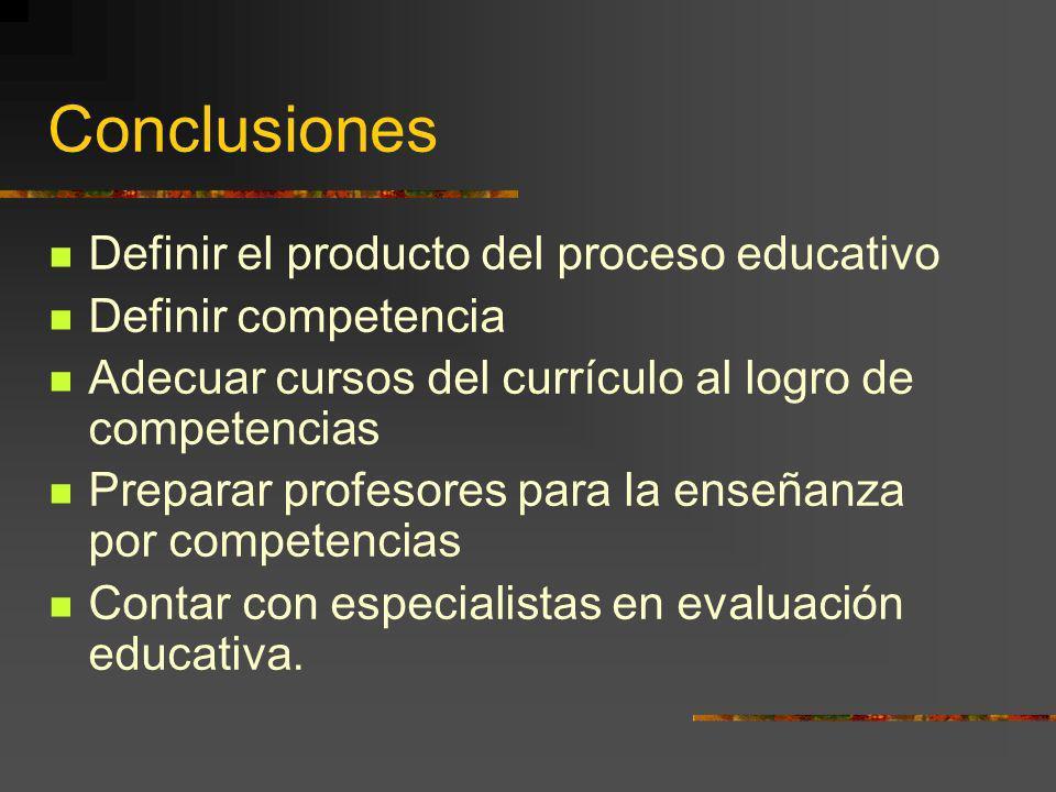Conclusiones Definir el producto del proceso educativo