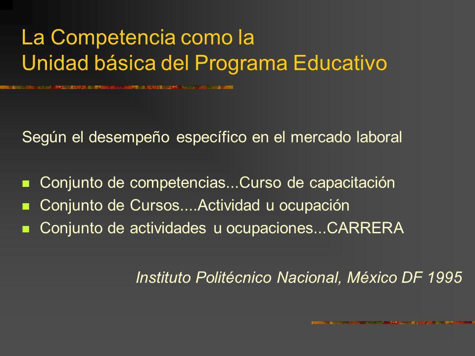 La Competencia como la Unidad básica del Programa Educativo