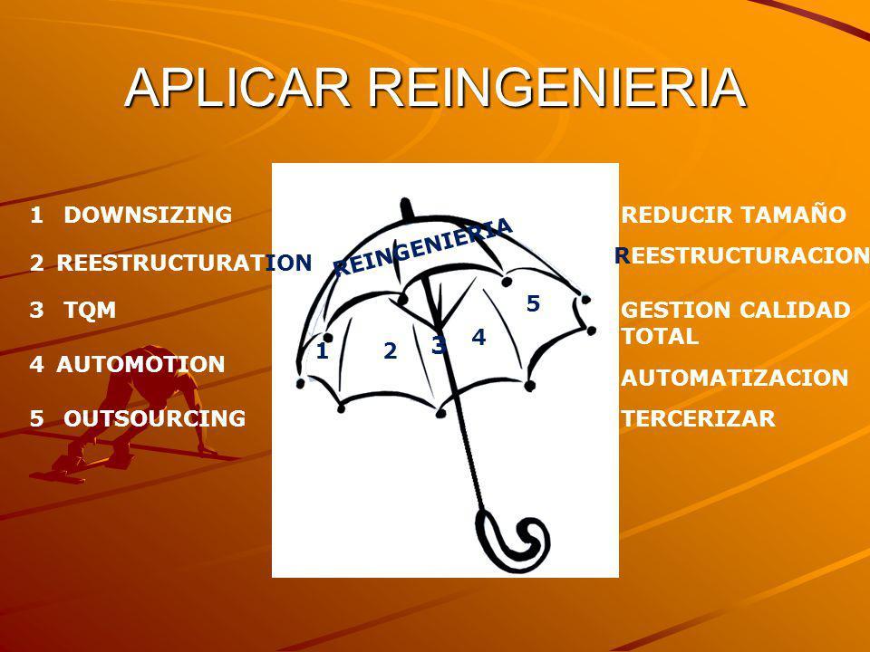 APLICAR REINGENIERIA 3 1 DOWNSIZING REDUCIR TAMAÑO REINGENIERIA
