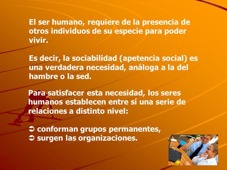 El ser humano, requiere de la presencia de otros individuos de su especie para poder vivir.