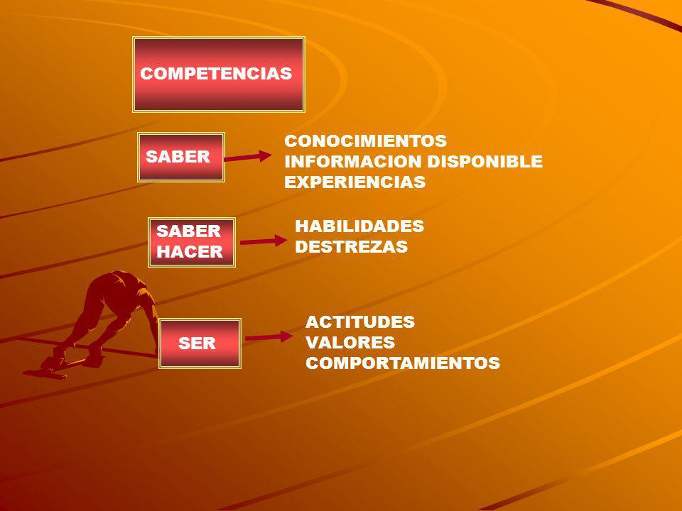 COMPETENCIAS CONOCIMIENTOS. INFORMACION DISPONIBLE. EXPERIENCIAS. SABER. HABILIDADES. DESTREZAS.