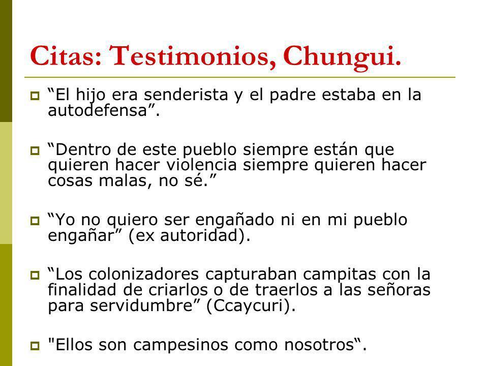 Citas: Testimonios, Chungui.