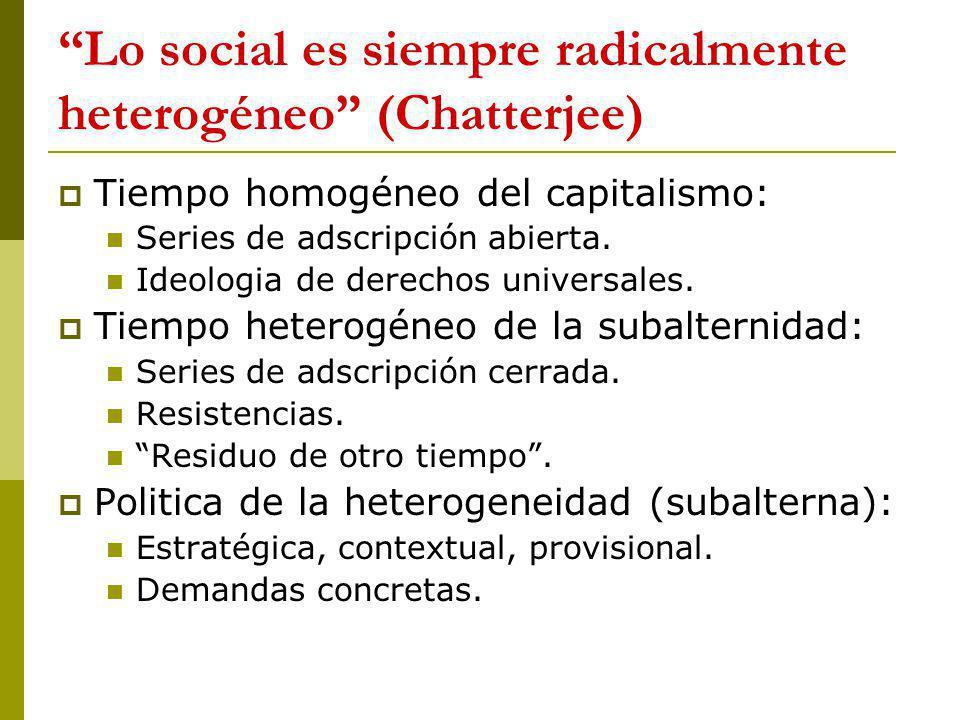 Lo social es siempre radicalmente heterogéneo (Chatterjee)