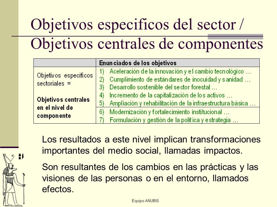 Objetivos especificos del sector / Objetivos centrales de componentes