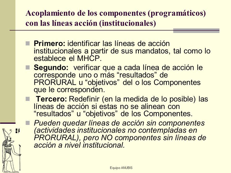 Acoplamiento de los componentes (programáticos) con las líneas acción (institucionales)