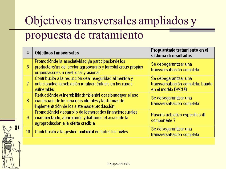 Objetivos transversales ampliados y propuesta de tratamiento