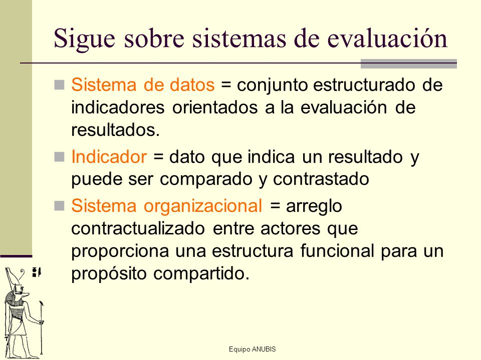 Sigue sobre sistemas de evaluación