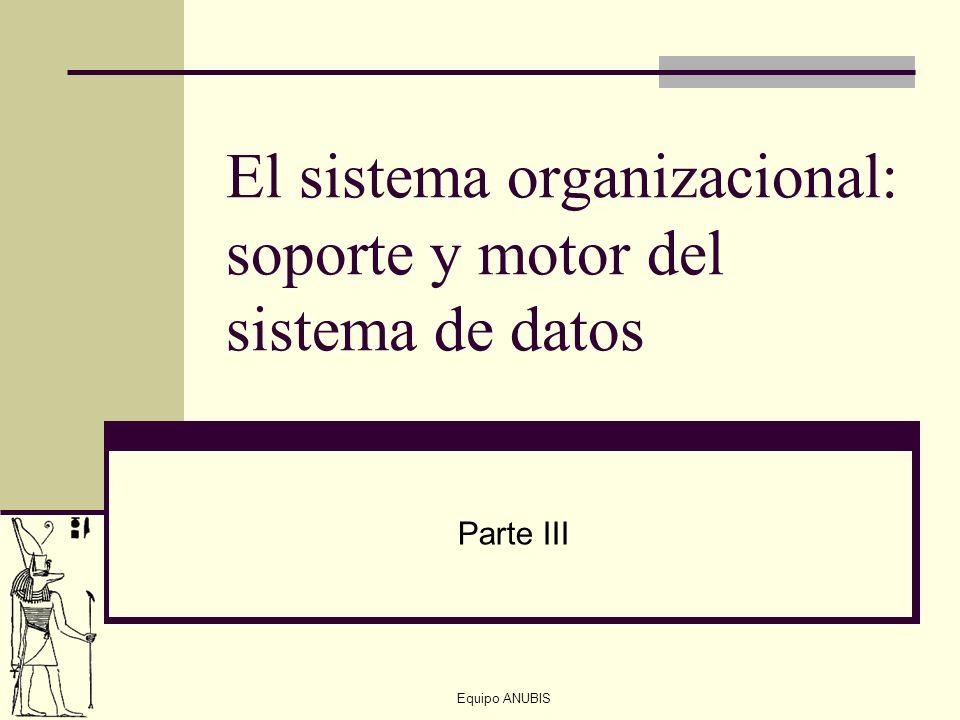 El sistema organizacional: soporte y motor del sistema de datos