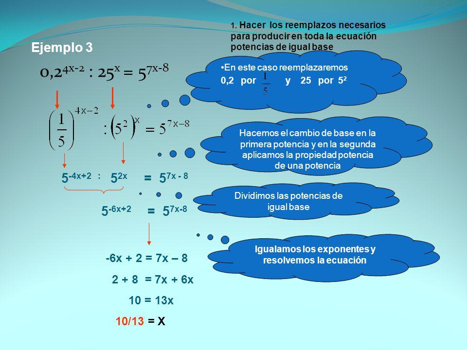 Igualamos los exponentes y resolvemos la ecuación