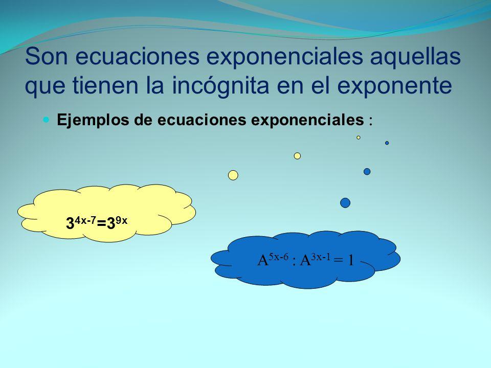 Son ecuaciones exponenciales aquellas que tienen la incógnita en el exponente