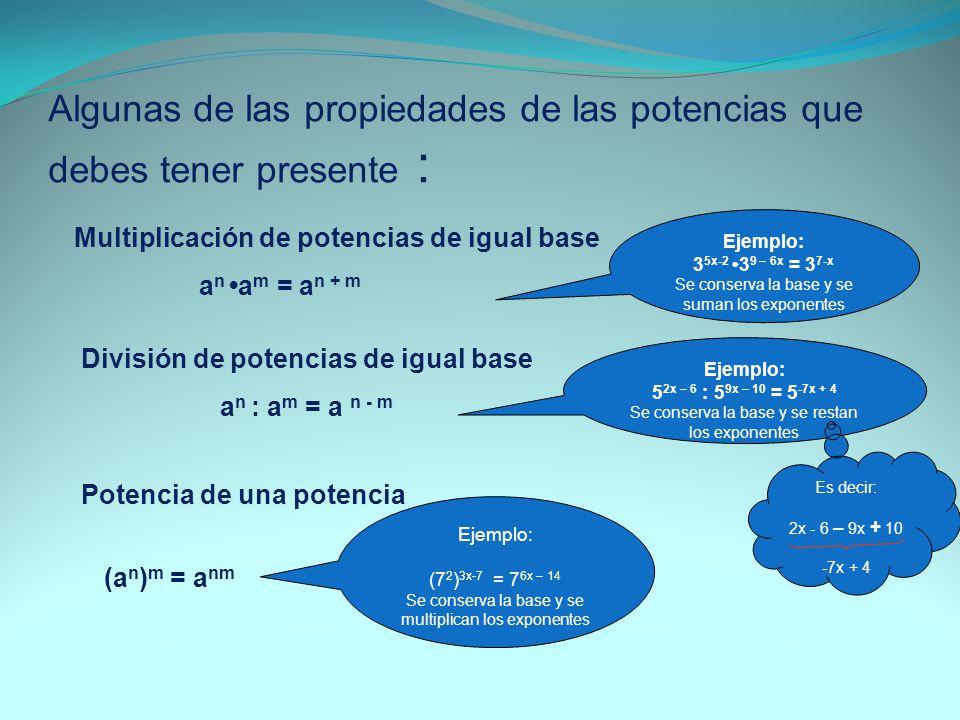 Algunas de las propiedades de las potencias que debes tener presente :