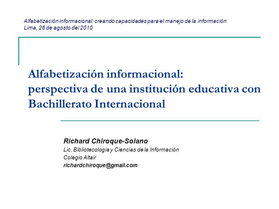 Alfabetización informacional: creando capacidades para el manejo de la información