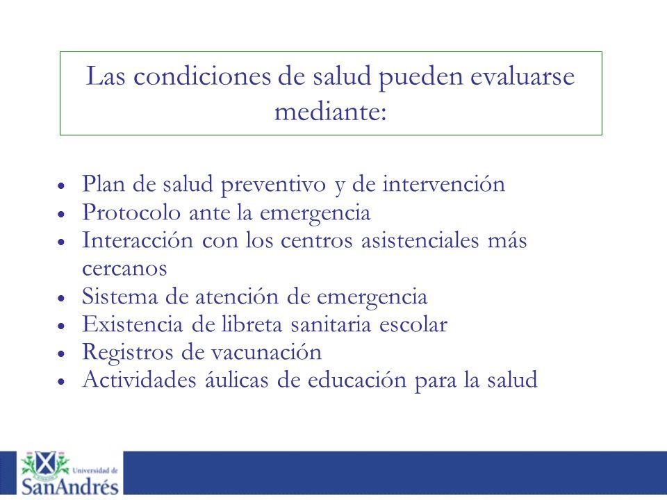Las condiciones de salud pueden evaluarse mediante: