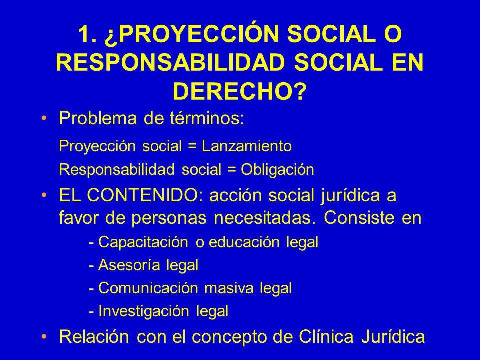 1. ¿PROYECCIÓN SOCIAL O RESPONSABILIDAD SOCIAL EN DERECHO