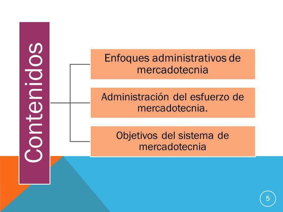 Contenidos Enfoques administrativos de mercadotecnia