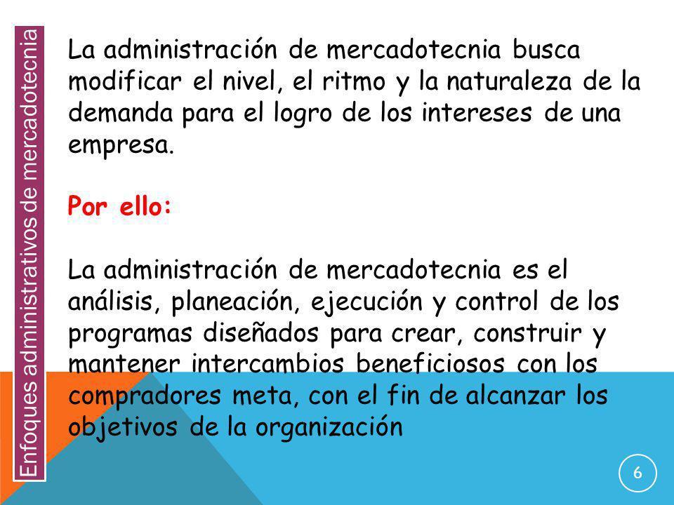 Enfoques administrativos de mercadotecnia