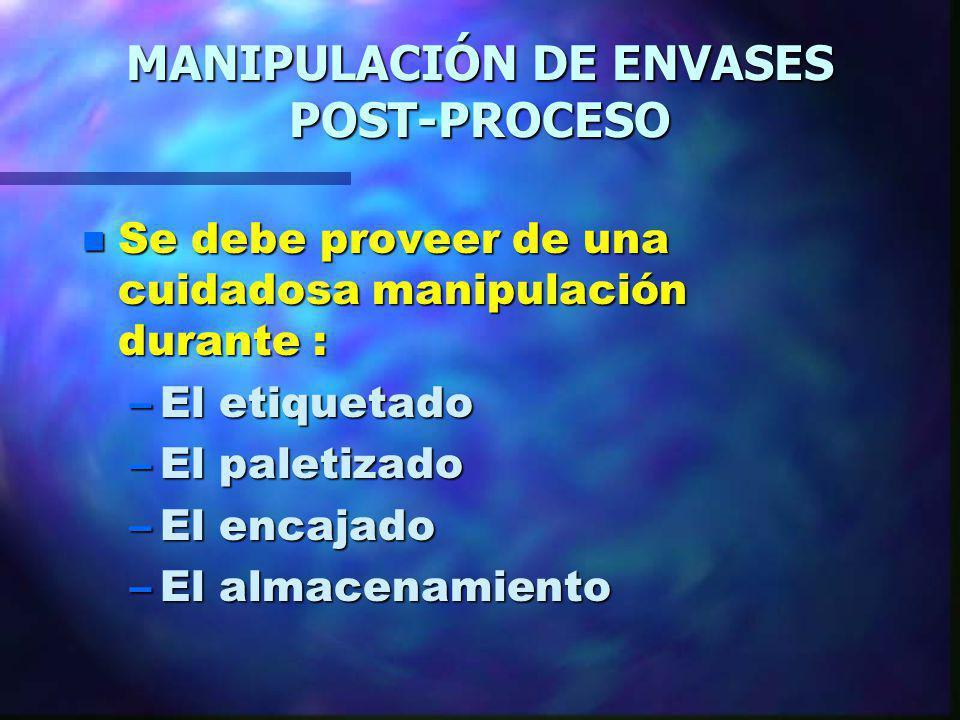 MANIPULACIÓN DE ENVASES POST-PROCESO