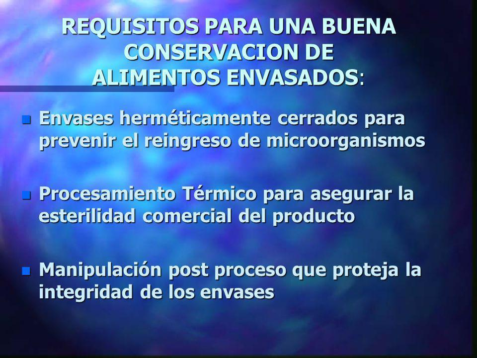 REQUISITOS PARA UNA BUENA CONSERVACION DE ALIMENTOS ENVASADOS: