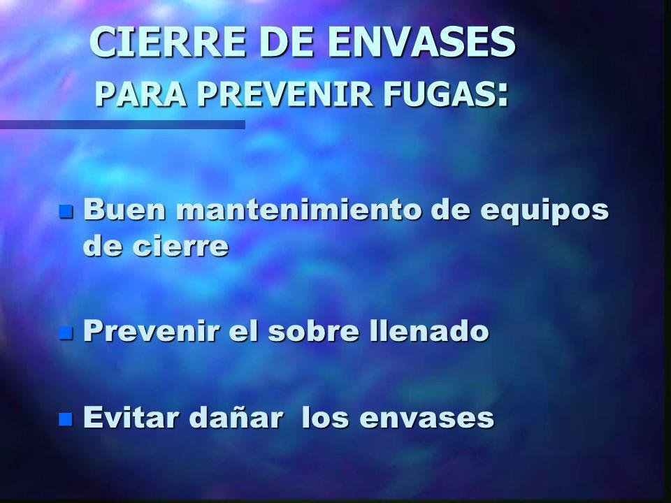 CIERRE DE ENVASES PARA PREVENIR FUGAS: