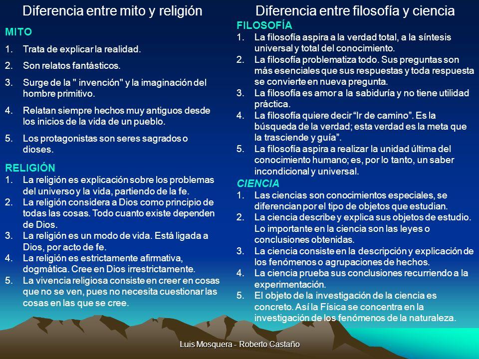 Diferencia entre mito y religión Diferencia entre filosofía y ciencia