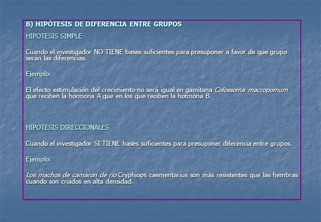 B) HIPÓTESIS DE DIFERENCIA ENTRE GRUPOS