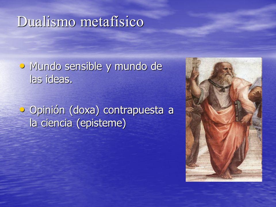 Dualismo metafísico Mundo sensible y mundo de las ideas.