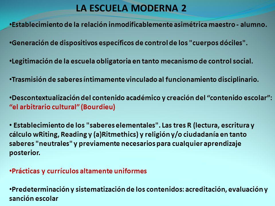 LA ESCUELA MODERNA 2 Establecimiento de la relación inmodificablemente asimétrica maestro - alumno.