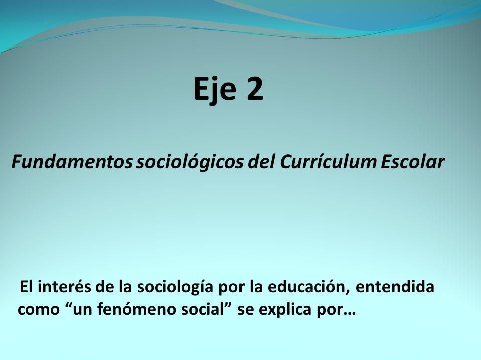 Eje 2 Fundamentos sociológicos del Currículum Escolar