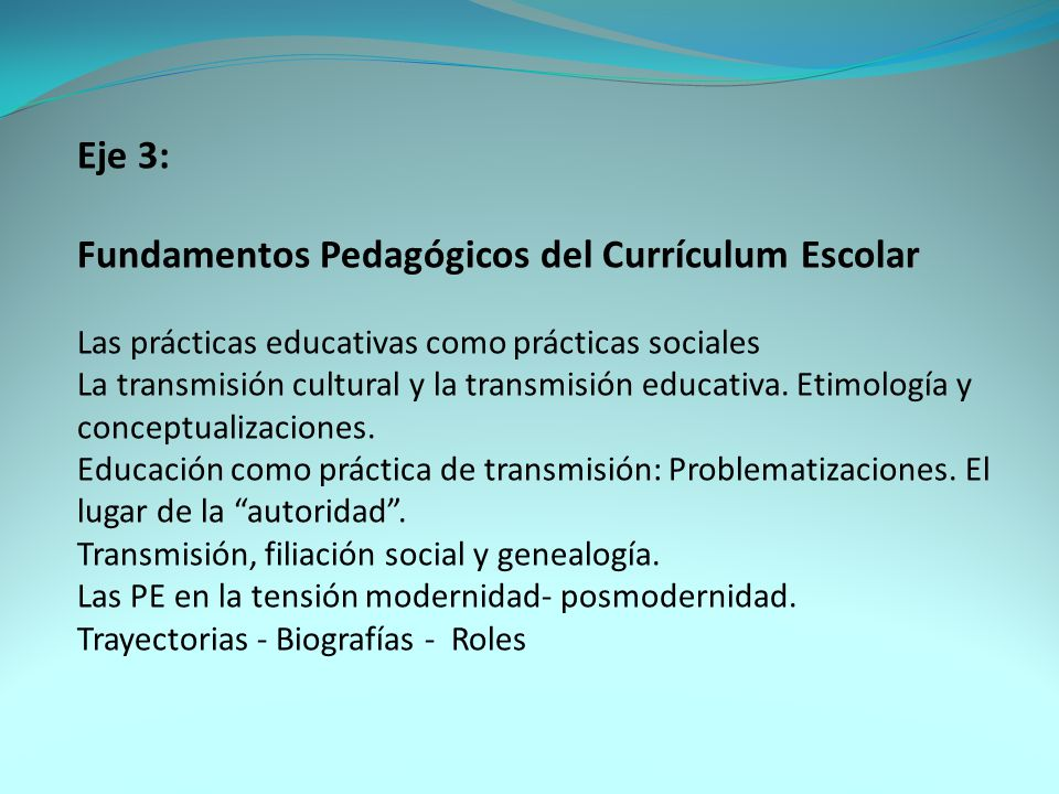 Fundamentos Pedagógicos del Currículum Escolar