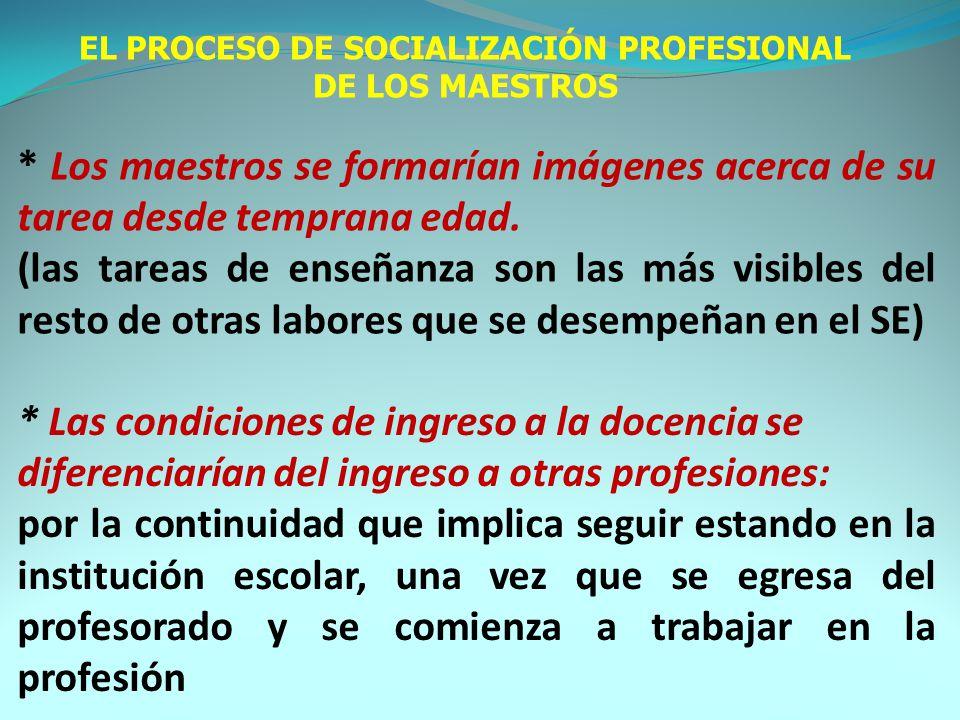 EL PROCESO DE SOCIALIZACIÓN PROFESIONAL DE LOS MAESTROS