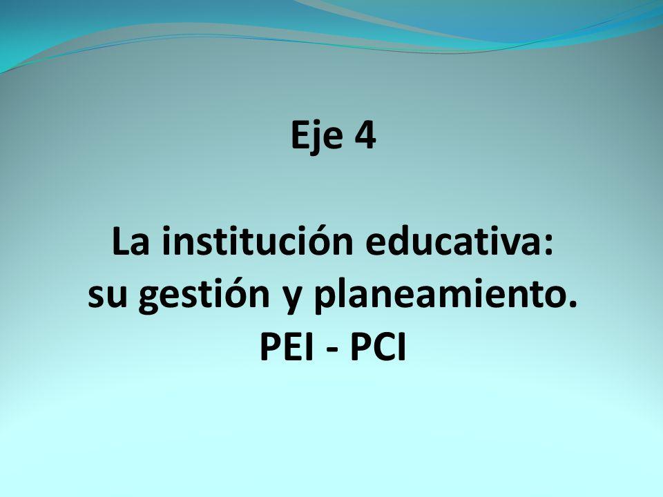 La institución educativa: su gestión y planeamiento.