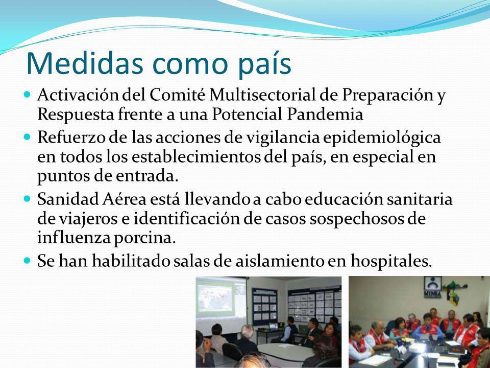 Medidas como país Activación del Comité Multisectorial de Preparación y Respuesta frente a una Potencial Pandemia.