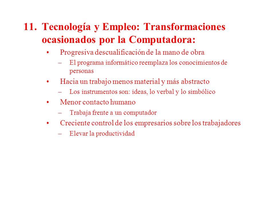 Tecnología y Empleo: Transformaciones ocasionados por la Computadora:
