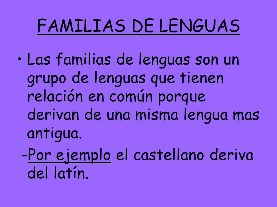 FAMILIAS DE LENGUAS Las familias de lenguas son un grupo de lenguas que tienen relación en común porque derivan de una misma lengua mas antigua.